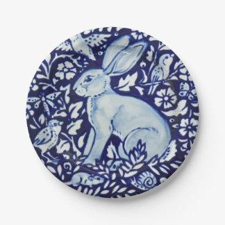 Dedham Cobalt Blue White Rabbit Garden Paper Plate