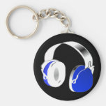 Deejay headphones in blue basic round button key ring