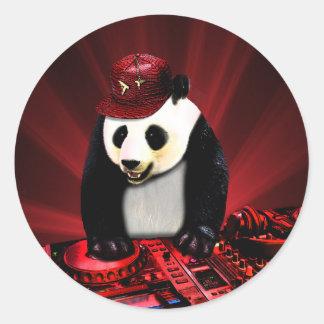 Deejay panda classic round sticker