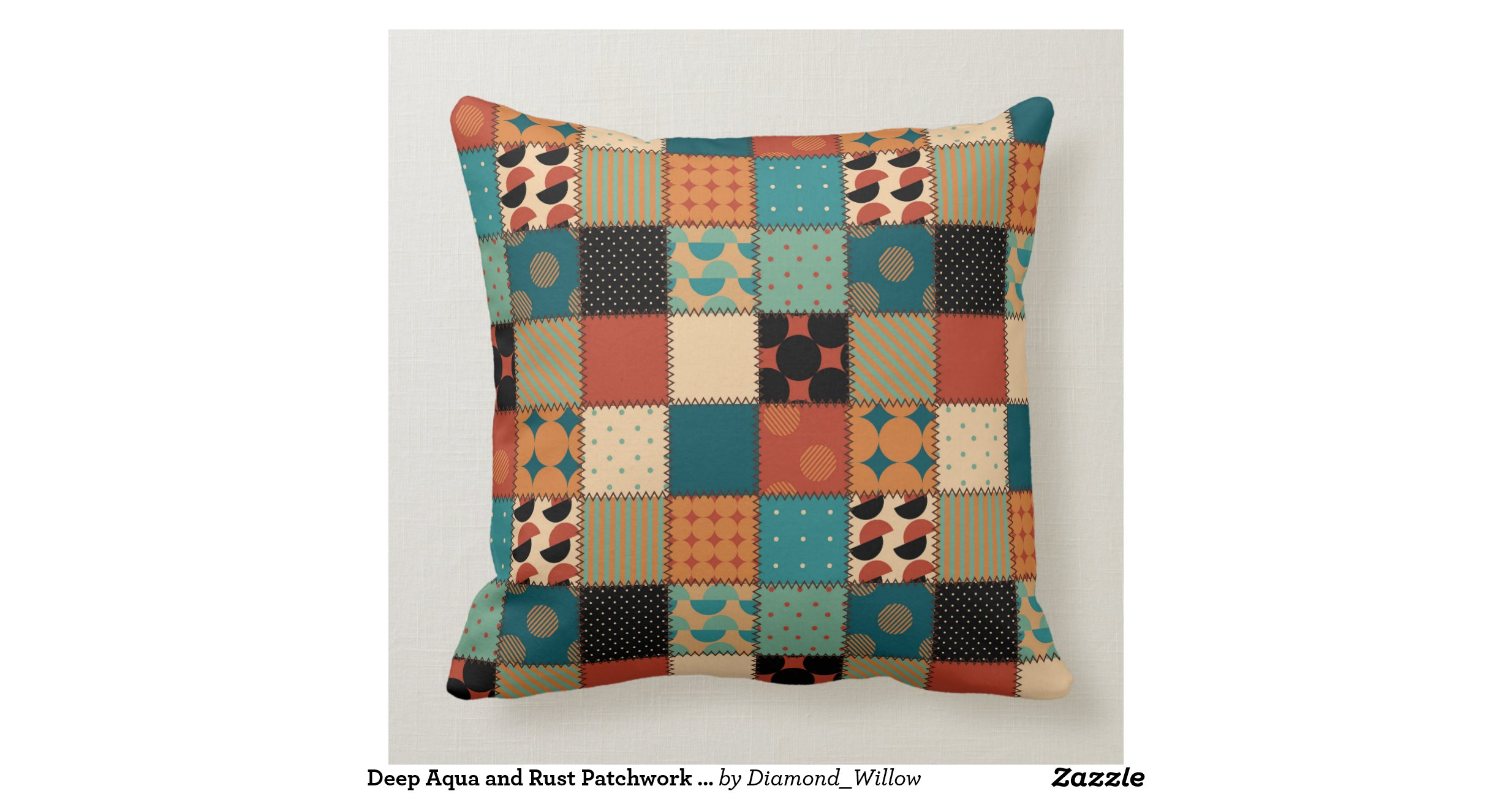 Quilt Patterns Pillowcases : Deep Aqua and Rust Patchwork Quilt Pattern Pillows Throw Cushions Zazzle