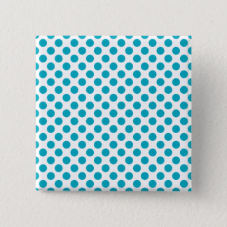 Deep Aqua Polka Dots 15 Cm Square Badge