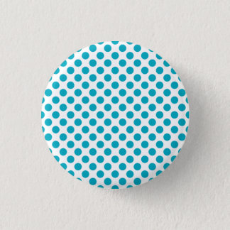 Deep Aqua Polka Dots 3 Cm Round Badge