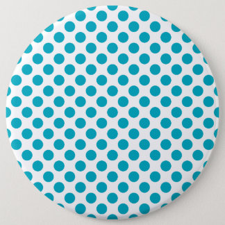 Deep Aqua Polka Dots 6 Cm Round Badge