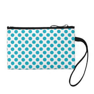 Deep Aqua Polka Dots Coin Purse
