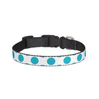 Deep Aqua Polka Dots Pet Collar