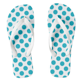 Deep Aqua Polka Dots Thongs