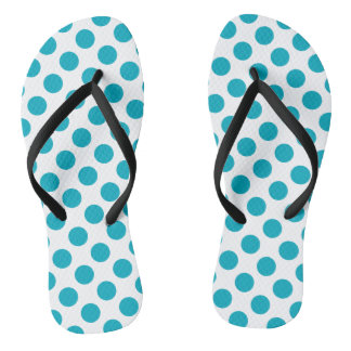 Deep Aqua Polka Dots Thongs