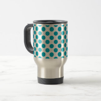 Deep Aqua Polka Dots Travel Mug