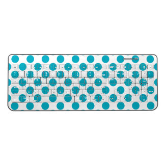 Deep Aqua Polka Dots Wireless Keyboard