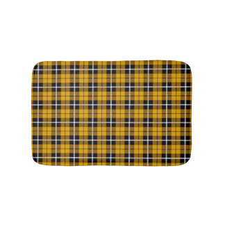 Deep autumn Gold yellow white/black stripe plaid Bath Mat