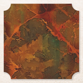 DEEP AUTUMN Rich Earthy Abstract Fall Paper Coaster