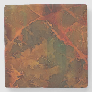 DEEP AUTUMN Rich Earthy Abstract Fall Stone Coaster