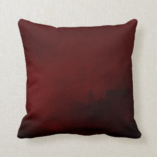 Deep Blood Red Lighthouse Ocean Black Cushion