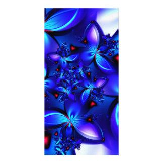 DEEP BLUE ABSTRACT FRACTALS GEOMETRIC DIGITAL ART CUSTOMIZED PHOTO CARD