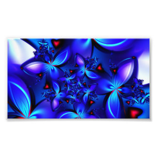 DEEP BLUE ABSTRACT FRACTALS GEOMETRIC DIGITAL ART PHOTO PRINT