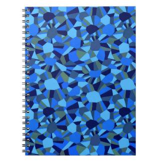 DEEP BLUE ABSTRACT SEA SHELLS PATTERN SPIRAL NOTEBOOK