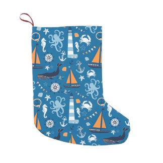 Deep Blue All Things Nautical Small Christmas Stocking