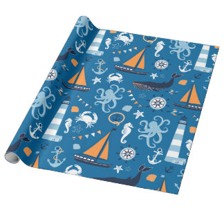 Deep Blue All Things Nautical Wrapping Paper
