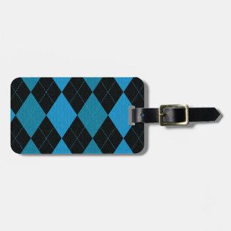 Deep Blue and Black Argyle Pattern Bag Tag