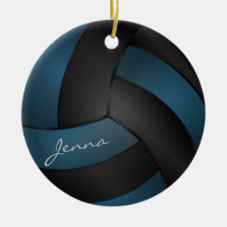 Deep Blue and Black Personalize Volleyball Ceramic Ornament