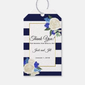 Deep Blue and Gold Wedding Favor Gift Tags
