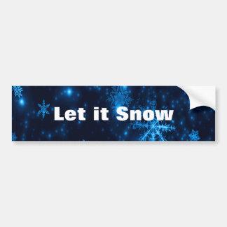 Deep Blue & Bright Snowflakes Bumper Sticker