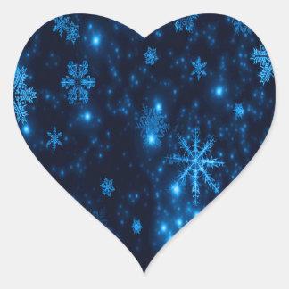 Deep Blue & Bright Snowflakes Heart Sticker