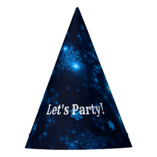Deep Blue & Bright Snowflakes Party Hat