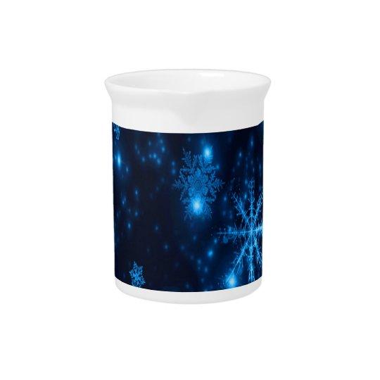 Deep Blue & Bright Snowflakes Porcelain Pitcher
