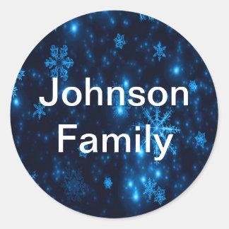 Deep Blue & Bright Snowflakes Round Sticker