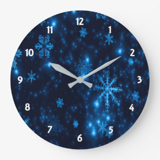 Deep Blue & Bright Snowflakes Round Wall Clock