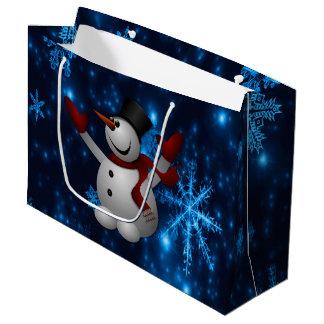 Deep Blue & Bright Snowflakes Snowman, Let It Snow Large Gift Bag