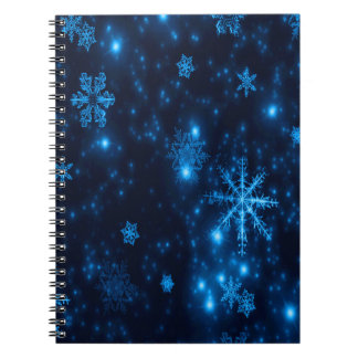 Deep Blue & Bright Snowflakes Spiral Notebook