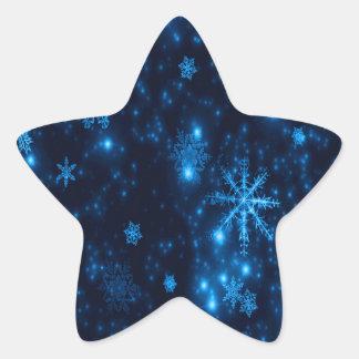 Deep Blue & Bright Snowflakes Star Sticker