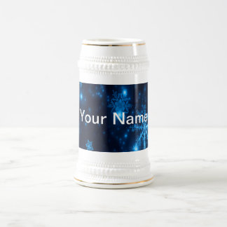 Deep Blue & Bright Snowflakes Stein Add Your Name