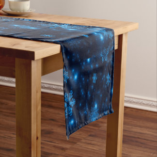 Deep Blue & Bright Snowflakes Table Runner