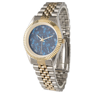 Deep Blue & Bright Snowflakes Unisex 2-Tone Watch
