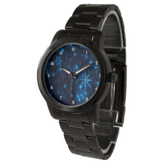 Deep Blue & Bright Snowflakes Unisex Black Watch