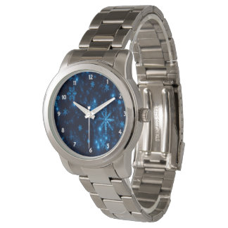 Deep Blue & Bright Snowflakes  Unisex eWatch Watch