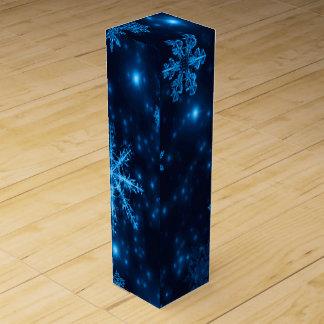 Deep Blue & Bright Snowflakes Wine Gift Box