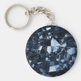 Deep Blue Diamond Effect Basic Round Button Key Ring