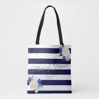 Deep Blue Floral Maid of Honor Tote Bag