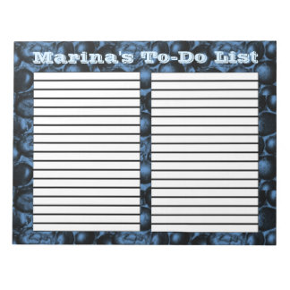 Deep Blue Glam Pebbles two column to-do list pad