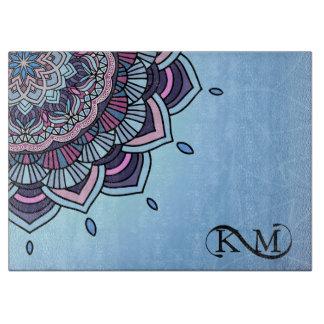 Deep Blue Glow Mandala ID361 Cutting Board