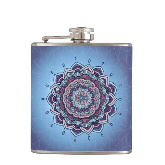 Deep Blue Glow Mandala ID361 Hip Flask