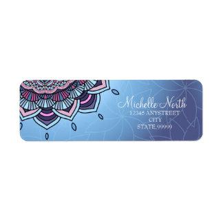 Deep Blue Glow Mandala ID361 Return Address Label
