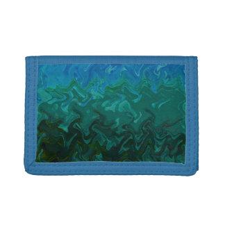 Deep Blue Green Ti-Dye Trifold Wallet