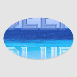 Deep Blue logo backdrop Oval Sticker