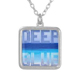Deep Blue logo backdrop Silver Plated Necklace