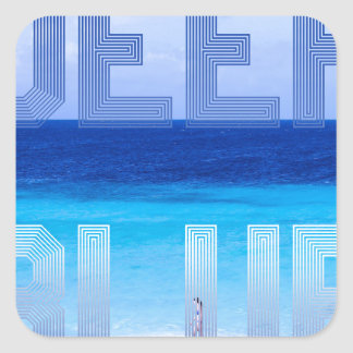 Deep Blue logo backdrop Square Sticker